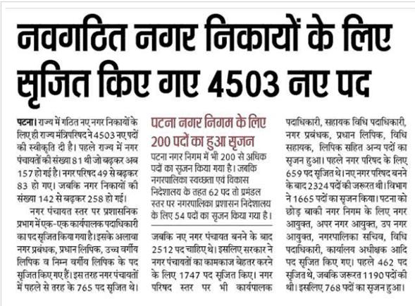 Bihar Nagar Vikas Vibhag Bharti 2021