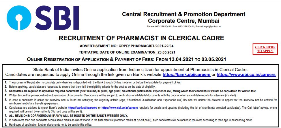 SBI Pharmacist Bharti 2021