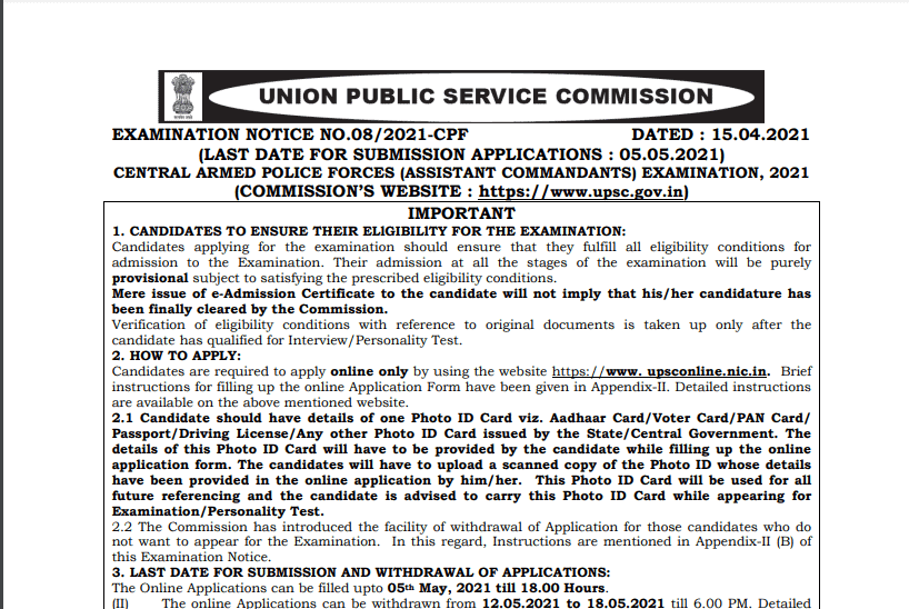 UPSC CAPF Exam Notification 2021