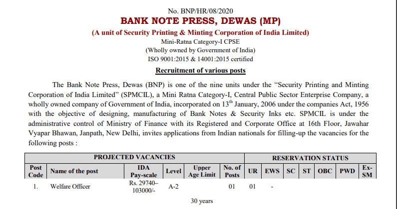 Bank Note Press Dewas Bharti 2021